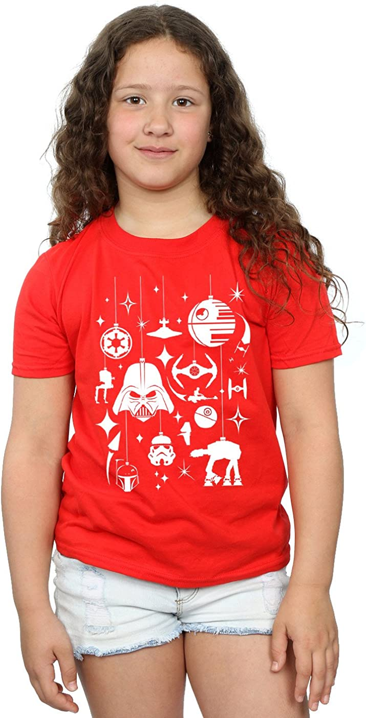 STAR WARS Girls Christmas Decorations T-Shirt 5-6 Years Red