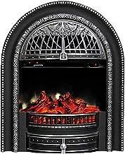 KAUTO Chimenea eléctrica - Estufa eléctrica con Mando a Distancia 750W 1500W Chimenea Decorativa de Temperatura Regulable con Efecto Quemador de leña Plateado