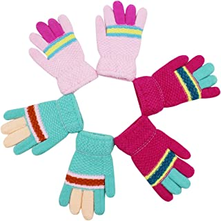 3 Pairs Toddler Kids Full Finger Knit Gloves Winter Warm Thick Thumb Mittens Fleece Lining Gloves
