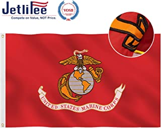 Jetlifee US Marine Corps Flag 3x5 Ft - by Veteran Owned Biz. 2 Layers Double Sided Embroidered Military Flag Heavy Duty Polyester, Sturdy Brass Grommets, Vibrant Colors USMC Flags for Indoor Outdoor