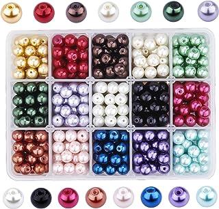 PandaHall - 450pcs 15 Couleurs Perle en Verre 8mm Perles Rondes Perles Nacrées Teint Environmental pour pour la Création d...