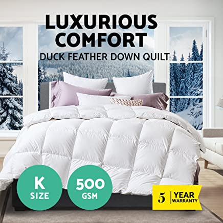 Duck Down Feather Quilt 500GSM Blanket Duvet Cotton Cover King Size All Season