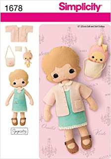 Simplicity 1678 13-Inch Felt Doll, Clothes and Accessories Sewing Pattern, Size OS (One Size)