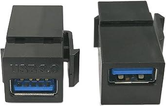 Keystone Jack USB 3.0 Inserta,zdyCGTime (Lote de 2) adaptadores USB 3.0 Hembra a Conector Hembra para Placa de Pared Salida Panel-Black