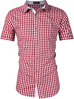 GloryStar Men's German Bavarian Oktoberfest Lederhosen Shirt Button Down Plaid Shirt