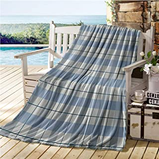 Mademai Checkered Swaddle Blanket,Traditional Scottish Tartan Plaid Texture Image Rural Style,Quilt Full Size Slate Blue Pale Blue White 50