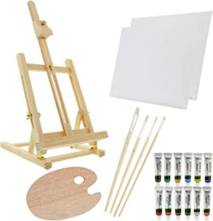 US Art Supply 21-Piece Wood Studio Table Easel & Paint Box Set with 12 Paint Colors, Canvas Panels, Brushes, Wood Palette ...