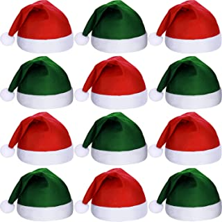 12 Pieces Santa Hats Christmas Non Woven Fabric Hat for Holidays Xmas Party Supplies
