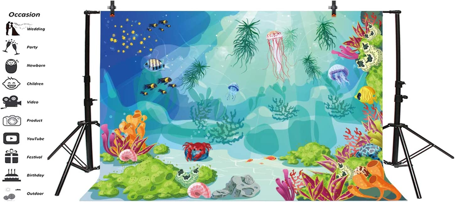 OERJU 8x6ft Sea World Backdrop Sunshine Fell Into Water Colorful Coral Sea Stars Bubbles Green Turtle Sea Horse Photography Background Newborn Baby Shower Happy Birthday Party Decor Vinyl Wallpaper