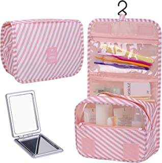 LAKIBOLE Hanging Toiletry Bag with Travel Mirror, Multifunction Cosmetic Bag Portable Makeup Pouch Waterproof Travel Hanging Organizer Bag for Women Girls (Pink Stripe)