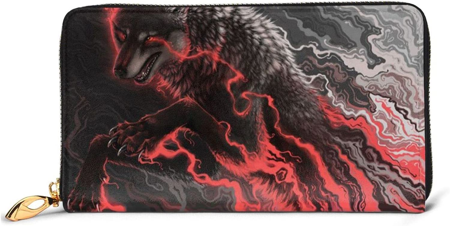 Red Wolf Leather Wallet New item Women Long store Around Zip Purse Bag T Clutch