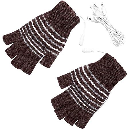 手袋 USB接続で加熱手袋 ヒーター手袋 指なし手袋 USB電源供給 温かい ヒーター内蔵 洗濯可能 防寒対策 男女兼用 スキーなど室外活動用 コーヒー色
