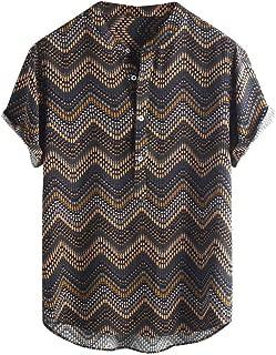 KINGOL Mens Fashion Ethnic Printed Button Short Sleeve Stripe Shirts Stand Collar Loose Blouse