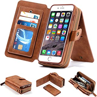 iPhone 8 Plus Case, iPhone 7 Plus Case, [Magnetic Detachable] Wallet PU Leather Mirror Case Flip Folio Cover Zipper Purse Clutch with [11 Card Holder] Slot for iPhone 7 Plus / 8 Plus 5.5 inch - Brown