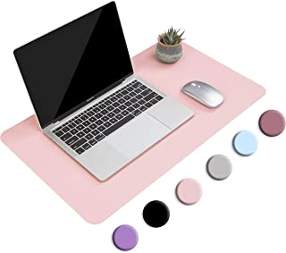 """Non-Slip Desk Pad, Waterproof PVC Leather Desk Table Protector, Ultra Thin Large Mouse Pad, Easy Clean Laptop Desk Writing Mat for Office Work/Home/Decor(Pink, 23.6"""" x 13.7"""")"""