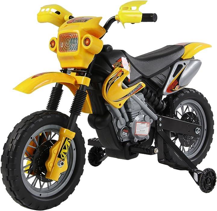 Moto elettronica per bambini a batteria ricaricabile 102 x 53 x 66cm giallo outsunny motocicletta IT370-0120631