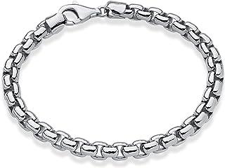 Miabella Solid 925 Sterling Silver Italian 6.5mm Square Rolo Link Round Box Chain Bracelet for Men 7, 7.5, 8, 8.5 Inch Mad...