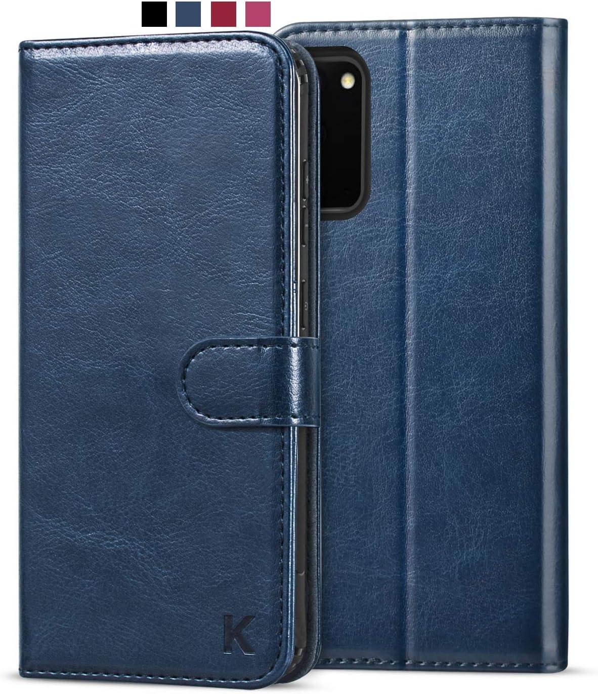 KILINO Samsung Galaxy S20 Wallet Case [PU Leather] [Soft TPU] [RFID Blocking] [Shock-Absorbent Bumper] [Card Slots] [Kickstand] [Magnetic Closure] Flip Folio Cover (Navy Blue)