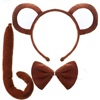 5pcs Animal Monkey Ears Headband Bow Tail Tutu Skirt Set Costume Accessories