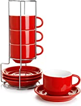 Sweese 406.104 Porcelain Stackable Cappuccino Cups with Saucers and Metal Stand - 8 Ounce for Specialty Coffee Drinks, Cap...