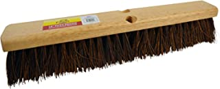 "Bristles 4218 18"" Outdoor Push Broom Head – Heavy Duty Hardwood Block, Rough Surface Stiff Palmyra Fibers, Brown"