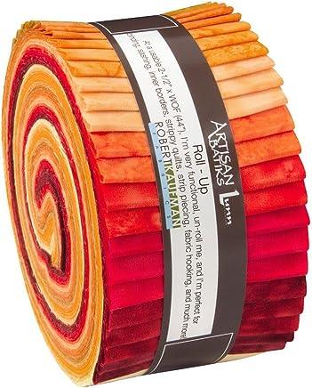 "Lunn Studios PRISMA DYES LAVA FLOW BATIKS Roll Up 2.5"" Precut Cotton Fabric Quilting Strips Jelly Roll Assortment Robert Kaufman RU-372-40"