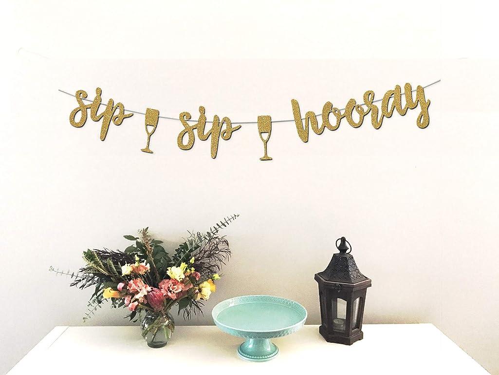 Sip Sip Hooray Banner - Premium Gold Glitter Cardstock Paper - Beautiful Decoration for Bridal Shower, Engagement, Bachelorette, Lingerie Party, Mimosa Bar