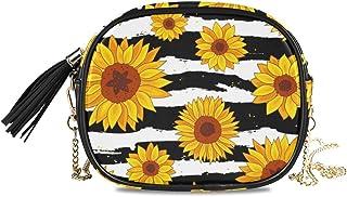 ALAZA Damen Grüne Herzen und Blumen Plaid Muster PU Leder Crossbody Tasche Schultertasche mit Quaste