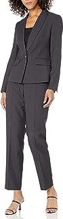 NINE WEST Women's 1 Button Shawl Collar Stripe Pant Suit
