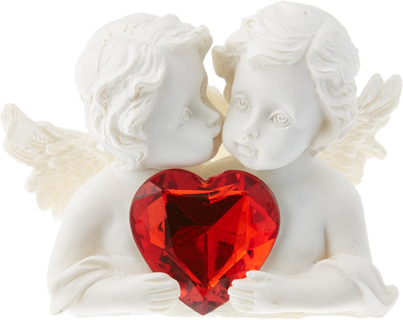 Angel Heart MEDIUM Shell Art Ornaments Cupid Cherubs Start at 23 US-Bud Vase Accents-Red Glass Hearts-Stocking Stuffer-Beach Wedding Favors