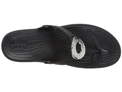 Crocs Sanrah Hammered Metallic Wedge Flip Black/Black