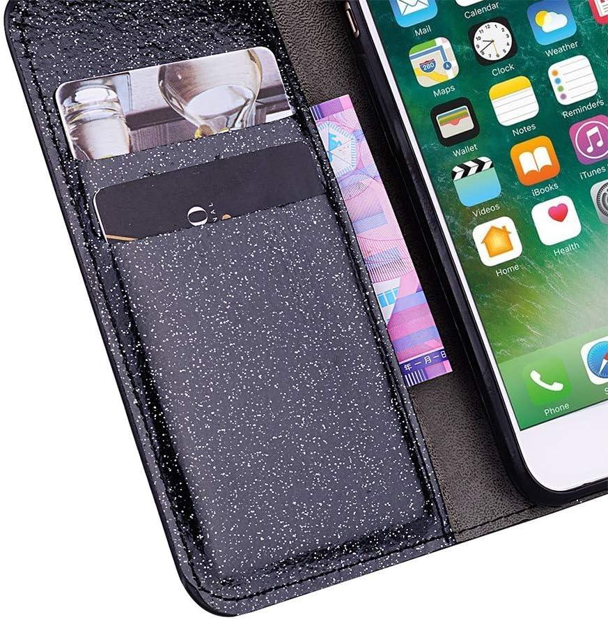 QC-EMART Cover per Samsung Galaxy A50 Custodia in Pelle Viola Glitter Paillette Luccichio Farfalla Portafoglio Porta Carta Guscio Caso Case Protettiva Custodie Cellulari per Ragazza