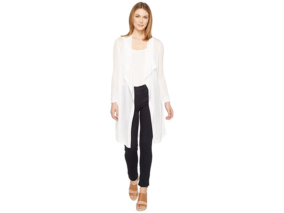 Three Dots Drape Front Cardigan (White) Women