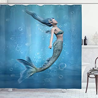 Ambesonne Underwater Shower Curtain, Mermaid Fishtail Floating Bubbles Mythical Creature Fairy Ocean Life Artwork Print, Cloth Fabric Bathroom Decor Set with Hooks, 70