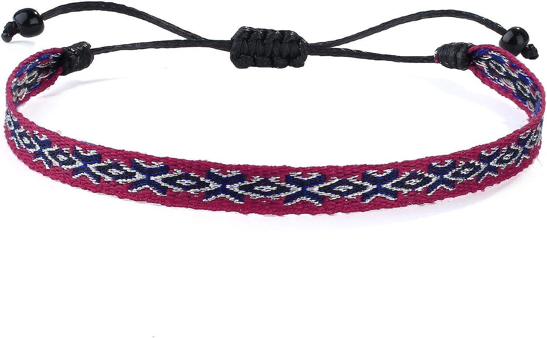 KELITCH Womens Silk Braided Friendship Bracelets Stacked String Wrap Bracelets Bohemian Charm Adjustable Bracelets Bangle
