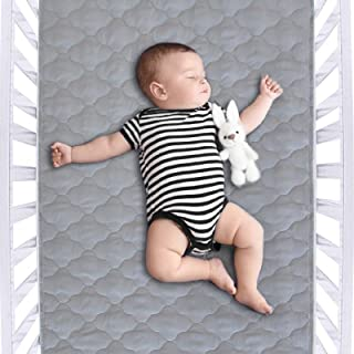 Waterproof Crib Mattress Protector Pad 28 x 52, Anti Slip & Durable Waterproof Pad Mat for Baby Standard Crib/Bed Pads, Ultra Soft Reusable Lifesaver for Kid Bed As Sheet Protector, Grey