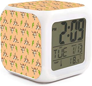 Led Alarm Clock Longhorn Cattle Cow Texas Skull Cactus Personality Creative Noiseless Multi-Functional Electronic Desk Table Digital Alarm Clock for Unisex and Toy Gift