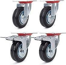 Forever Speed 4 stuks 125 mm transportwielen, industriële zware zwenkwielen, meubelwielen en zwenkwielen met rem, draagver...