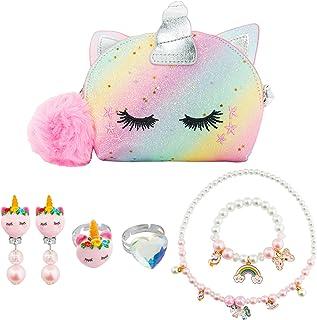 SOTOGO 7 Pieces Little Girls Purses Girls Pretend Jewelry Set Toddler Mini Cute Princess Handbags Shoulder Messenger Purse...