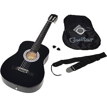 ts-ideen 5263 - Guitarra acústica clásica (incluye funda, correa, cuerdas y púa), color negro: Amazon.es: Instrumentos musicales