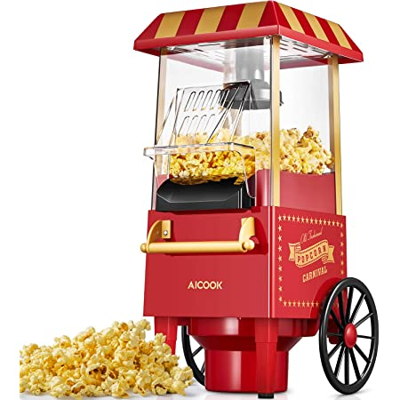 Machine à Pop Corn, 1200W Retro Machine à Popcorn avec Air Chaud, Sans Gras Huile, Facile á L'utilisation, Rouge