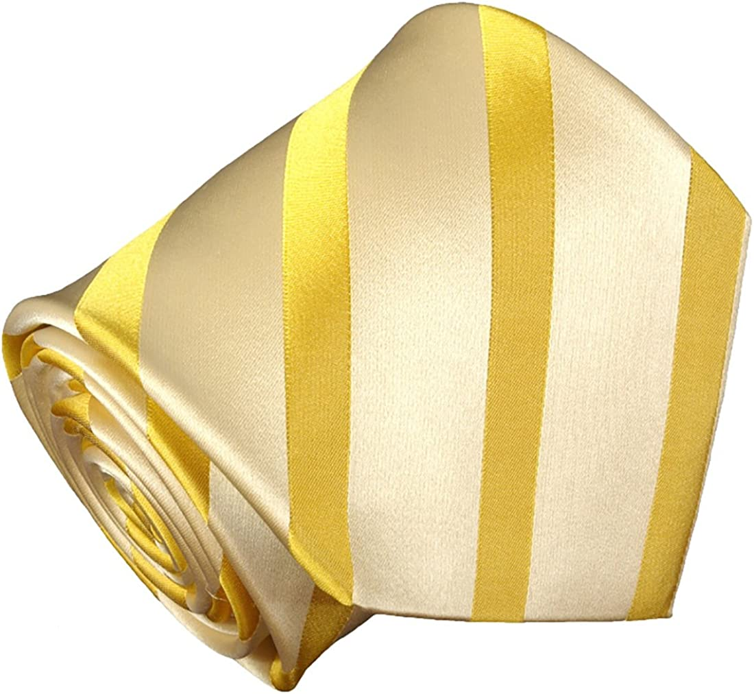 Paul Malone Necktie, Pocket Square and Cufflinks 100% Silk Yellow