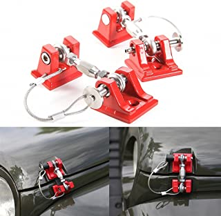 Drizzle Steel Hood Latches Hood Lock with Strong Aluminum Alloy Material Catch for 2007-2017 Jeep Wrangler JK JKU JL (Red)