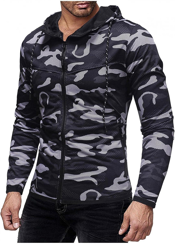 Hoodies for Men Camouflage Fashion Mens Athletic Hoodies Full Zip Sport Sweatshirt Long Sleeved Gym Pullover Coat