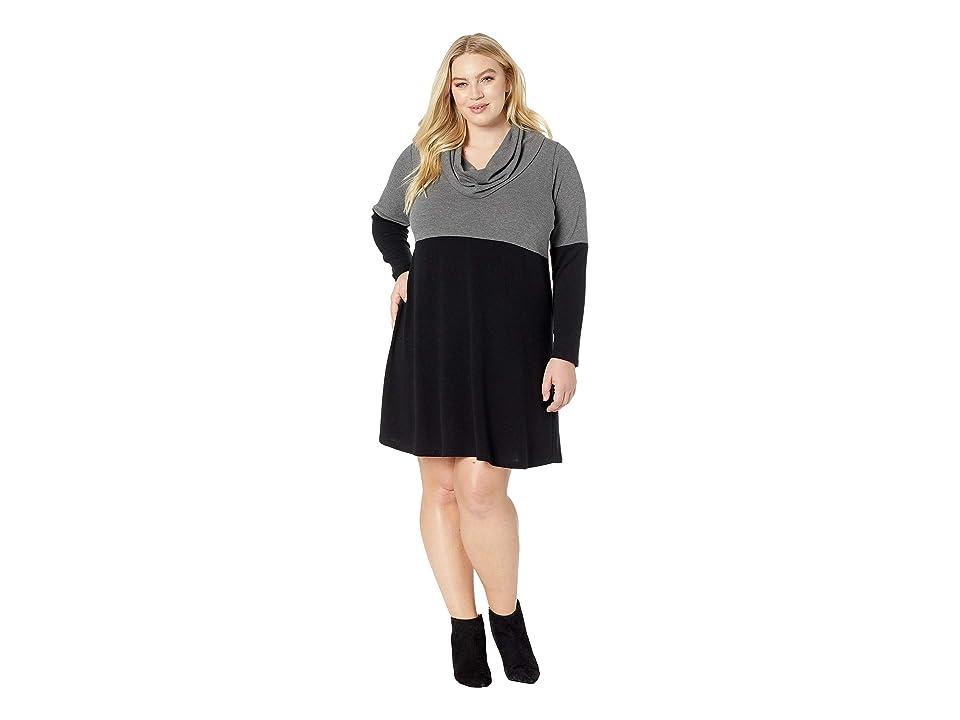 Karen Kane Plus Plus Size Cowl Neck Taylor Dress (Black/Gray) Women