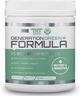 Generation Greens Powder | Best Organic Superfood Green Powder | 60 Powerful Super foods ( Spirulina, Chlorella, Wheat Grass), Probiotics, Enzymes |GMO FREE
