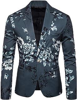 HOOUDO Men Blazer,Autumn Winter Sale ClassicStylish FloralPrint One Button V Neck Slim Fit Tuxedo Jackets Wedding Blazer...