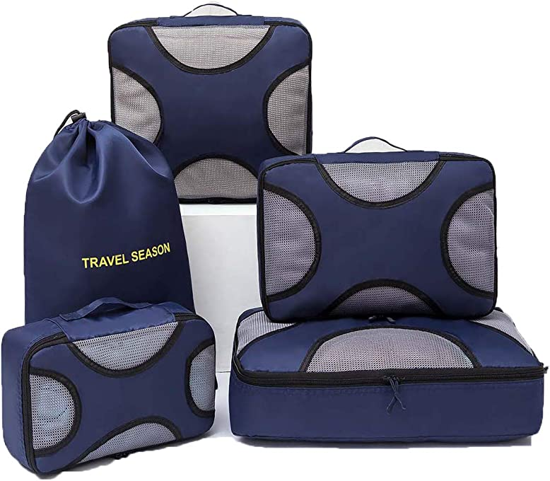 5 Set Packing Cubes, Lightweight Travel Luggage Compression Organizer, 4 Travel Cubes 1 Pouch