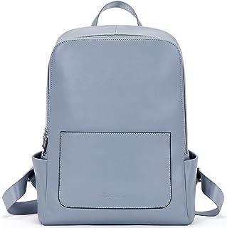 BOSTANTEN Damen Leder Rucksack Schulrucksack 13 Zoll Laptoprucksack Reiserucksack Casual Backpack Daypacks Hellblau
