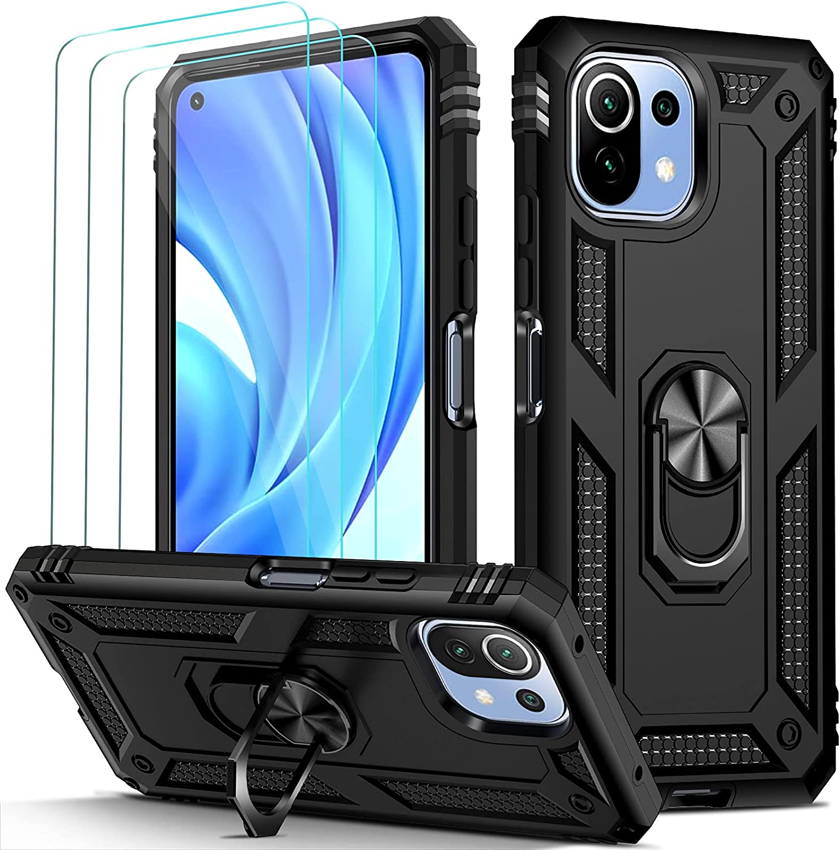 ivoler Funda para Xiaomi Mi 11 Lite 4G / 5G con [Cristal Vidrio Templado Protector de Pantalla *3], Anti-Choque Carcasa con Anillo iman Soporte, Hard Silicona TPU Caso - Negro
